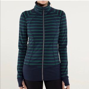 Lululemon Nice Asana Green Striped Full Zip Up
